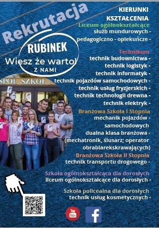 plakat przedstawiający kierunki kształcenia w Rubinku.